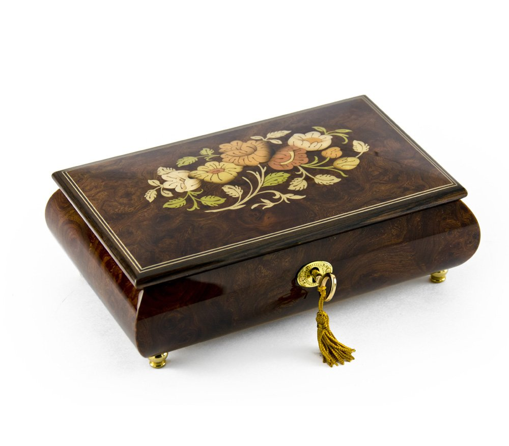 Gorgeous 18 Note Dark Natural Wood Tone Floral Inlay Musical Jewelry Box with Lock and Key - Wedding Song (There is Love) - SWISS