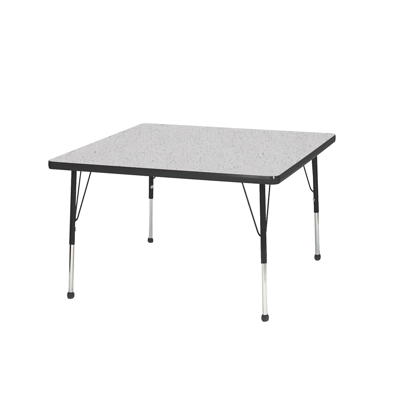 Creative Colors N36SQBK-SB Activity Table, Ball Glides, Standard Height, 36'', Square, Gray Nebula Top, Black Edge
