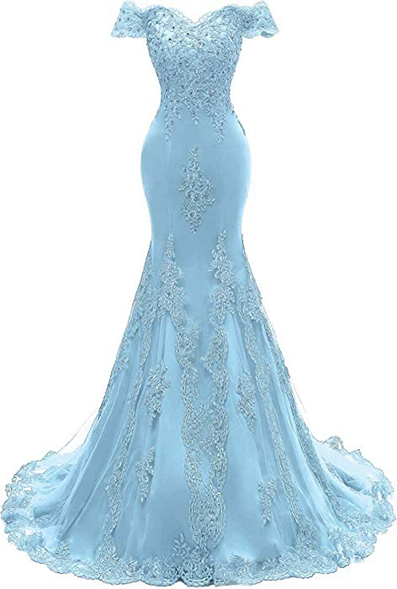 bluee ROMOO Women Off the Shoulder Tulle Mermaid Prom Dresses Long Lace Beaded Evening Wedding Dress 2019