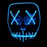 Queta ToWinle Halloween Masks Festival Party Cosplay LED Light Up Maschera di Carnevale Maschera Halloween Accessori Maschera smorfia Alimentato a batteria (non incluso) (Blu)
