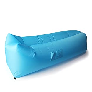 Outdoor Inflatable Lounger with Headrest, SunbaYouth Nylon Fabric Beach Lounger Convenient Compression Air Bag Hangout Bean Bag Portable Dream Chair (Square blue)
