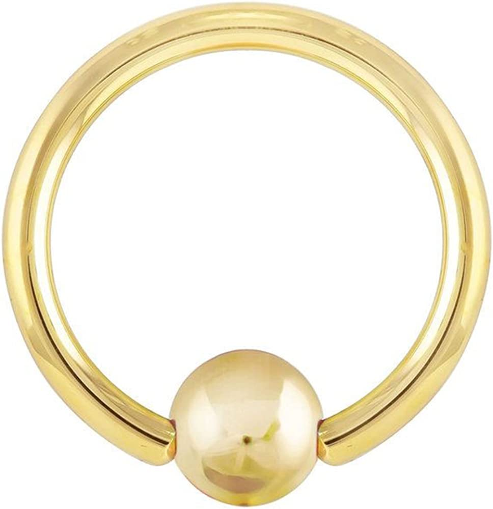 FreshTrends 14K Yellow Gold Captive Ring Nose Hoop Cartilage Earring 20G