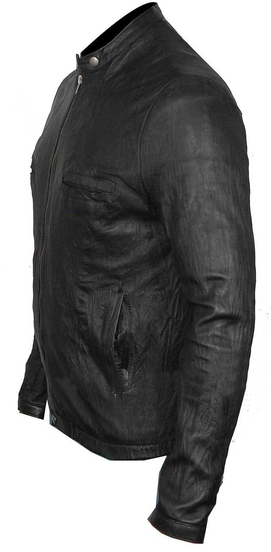 17 Again Oblow Black Krinkle Leather Jacket