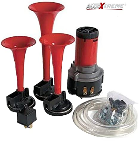 allextreme car/bikes air horn with 12 volt air compressor and attachment  screws and brackets (red): amazon in: car & motorbike