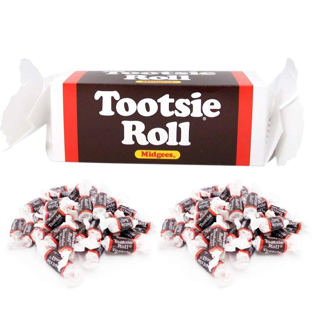 Tootsie Roll Midgees Chewy Chocolate Valentines Day Candy Gift in Collectible Twist Tie Style Ends Collector's Gift Box, 8.38 Ounces Each