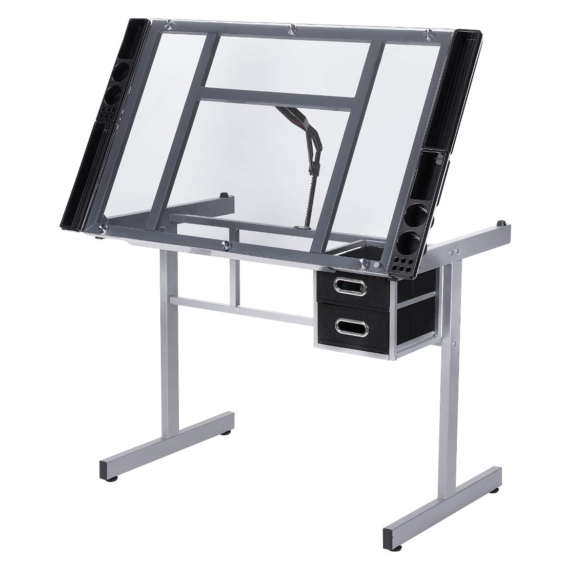 VIVOHOME Glass Adjustable Height Drafting Desk Drawing Table with 2 Storage Drawers for Kids Adults Artists by VIVOHOME