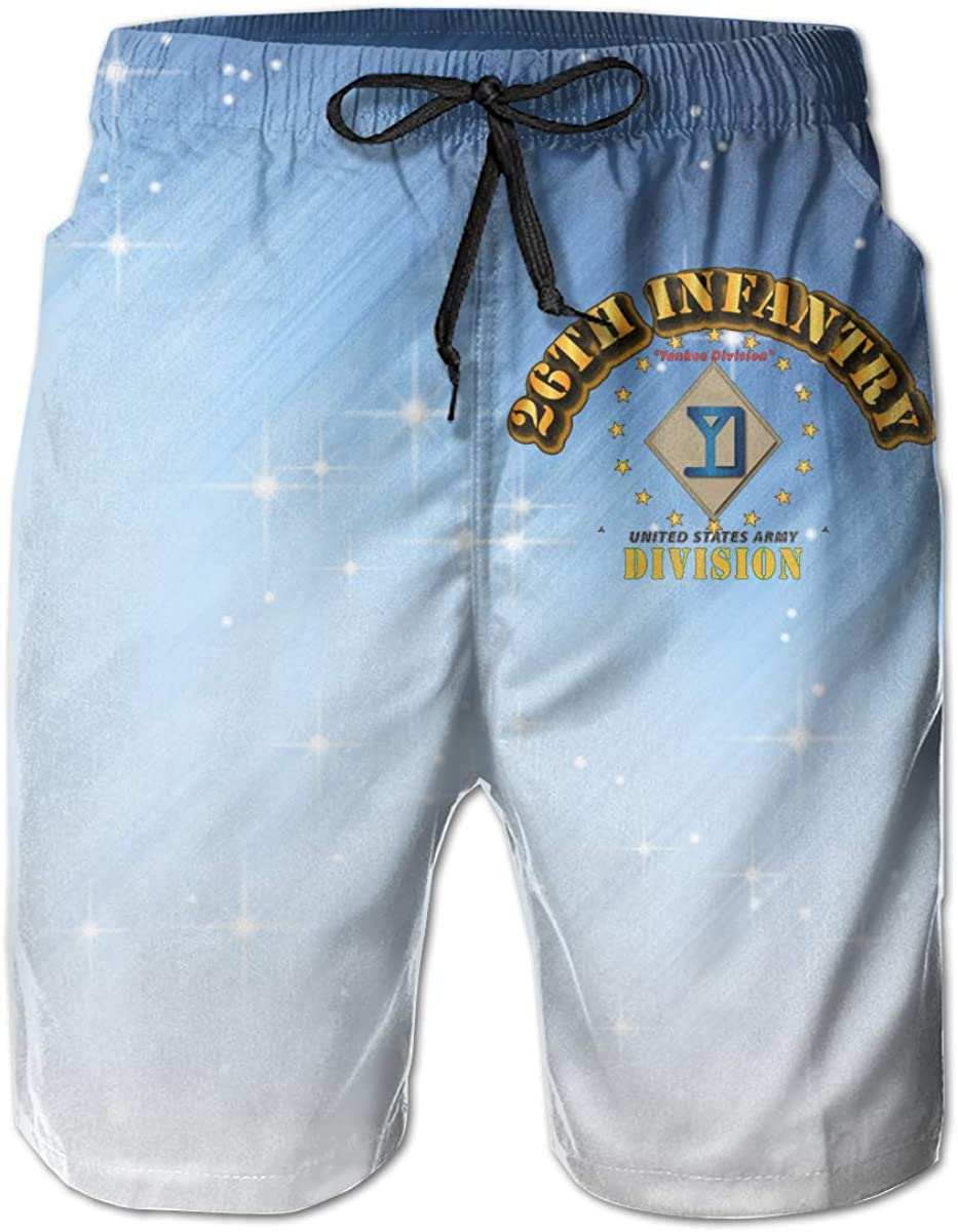 26th Infantry Division Yankee Division Mens Casual Classic Fit Short Summer Beach Shorts