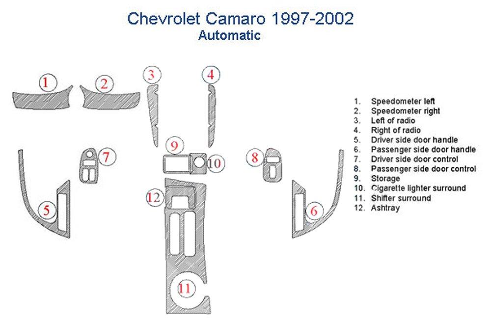Chevrolet Camaro Dash Trim Kit, Automatic Transmission - Magma Burlwood