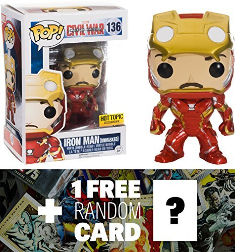 Iron Man - Unmasked (Hot Topic Exclusive): Funko POP! x Captain America Civil War Bobble-Head Figure + 1 FREE Official Marvel Trading Card Bundle (072254)