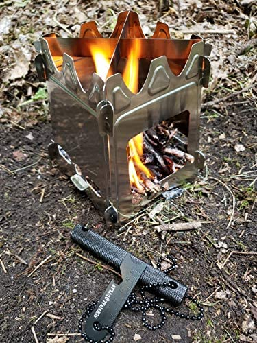 Survival Outlaw Wood Burning Camp Stove Uses Twigs, Sticks, and Pellets 304 Stainless Steel – Portable Compact Perfect For Emergency Bushcraft or Backpacking – Free Outlaw Striker Firestarter