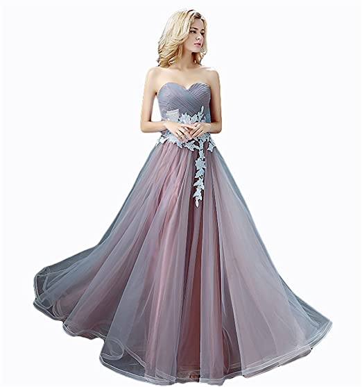 Drasawee Women Strapless Fineness Applique Bridesmaid Prom Dress Sweet Neckline Maxi Homecoming Evening Party Gowns UK10
