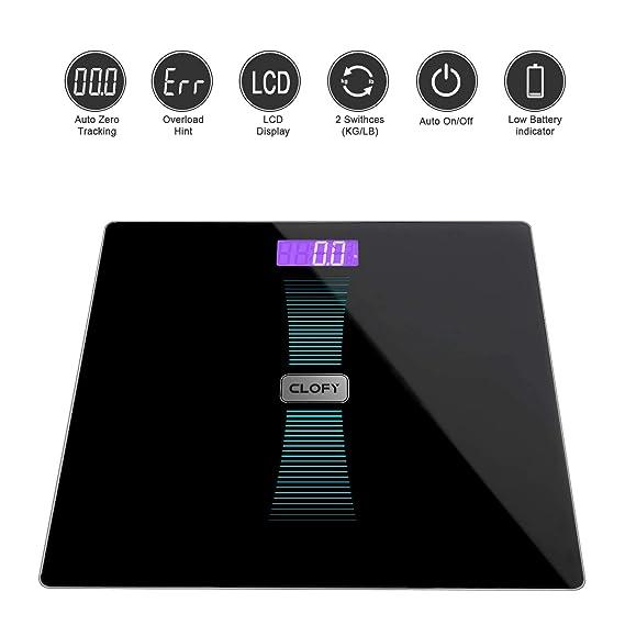 CLOFY Báscula de Baño Digital Alta Medición Precisa 200kg/440Ib/31st, Balanzas Electrónicas con Cristal Templado y LCD Retroiluminación, Escala de Peso con ...