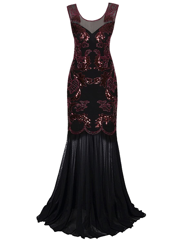 Vijiv 1920s Prom Dresses Long V Neck Beaded Sequin Evening Gown ...