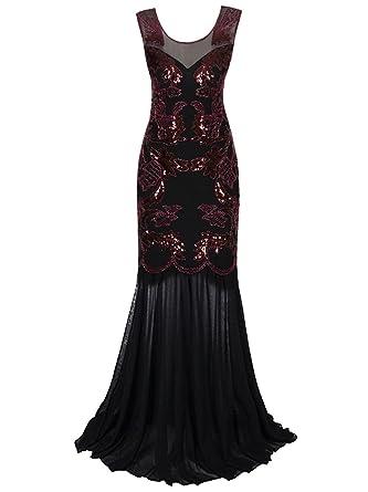 Vijiv Vintage 1920s Gatsby Evening Gown Long Art Deco Sequin Beaded ...