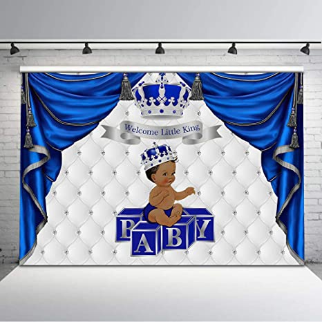 Amazon Com Mehofoto Royal Blue And Silver Baby Shower Backdrop
