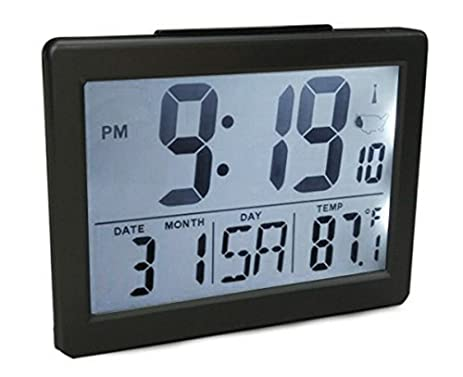 Atomic Desk/bedroom Alarm Clock Black 1.5u201d Time Number, Back White Light