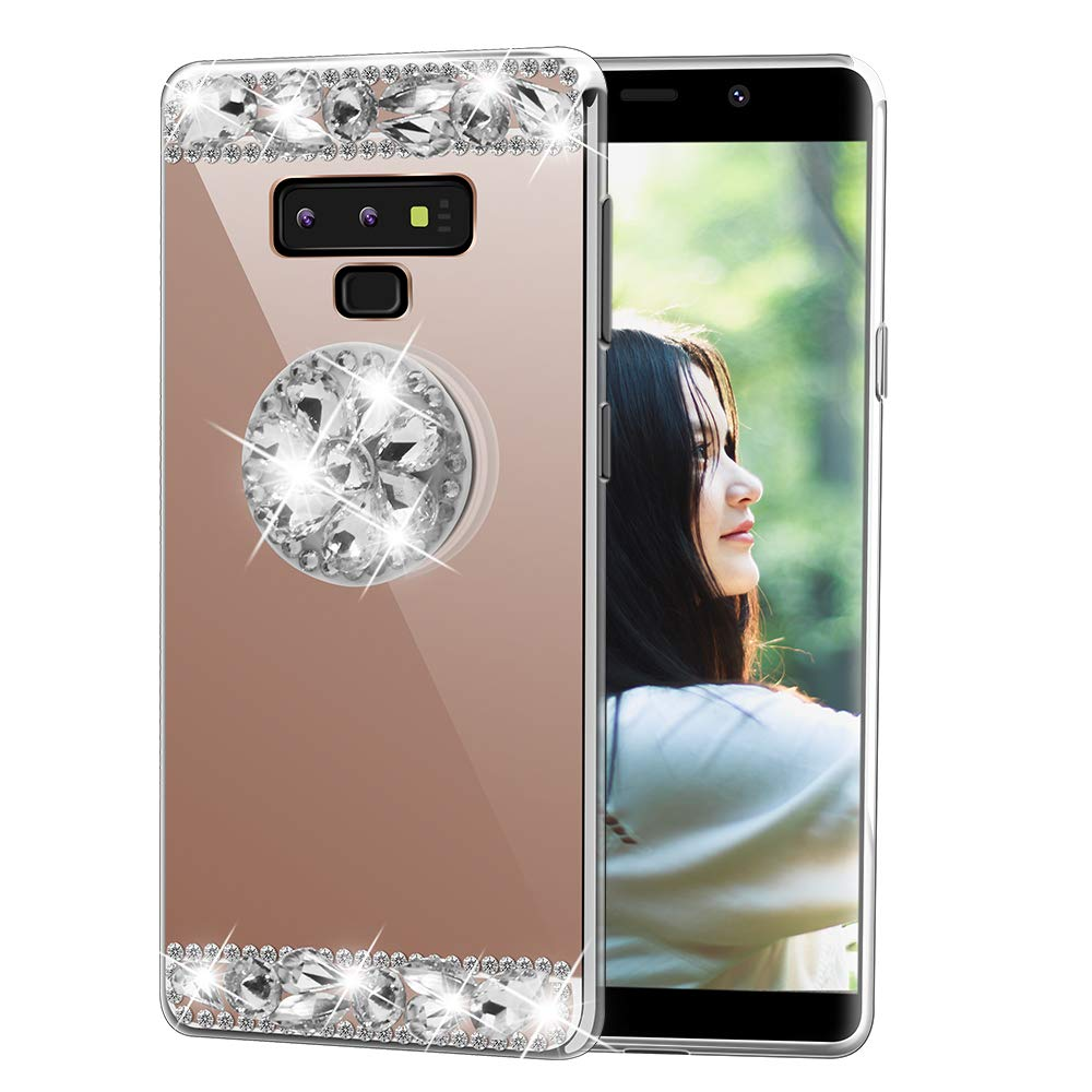 Samsung S8 Handmade Case-Aulzaju Luxury Bling TPU Mirror Cover for Galaxy S8 Soft Slim Beauty Fashion Case with Collapsible Ring Stand-Silver