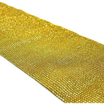 Koyal Wholesale Diamond Rhinestone Table Runner, 10 By 180 Inch, Gold