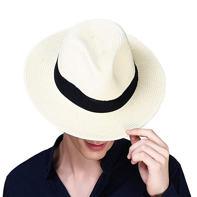 7923df7d50ee Taylormia Mens UPF 50+ Wide Brim Panama Straw Hat Foldable Beach Sun Hat  Beige