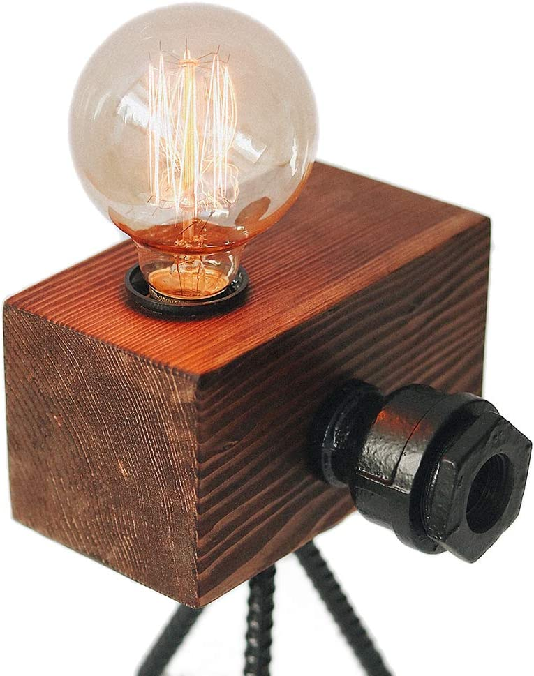 Looxury Real Wood Table Lamp Industrial Edison Bulb - Creative Camera Shape Unique Style - Vintage Decor Camera - Free Bulb Included