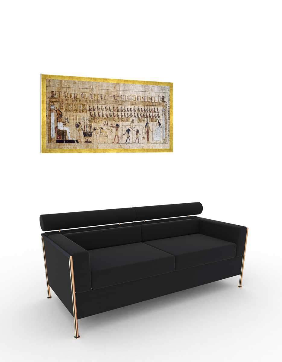 Gerahmtes Bild von Ägyptische Malerei Malerei Malerei Jenseitsgericht Totenbuch   Papyrus, Kunstdruck im hochwertigen handgefertigten Bilder-Rahmen, 100x50 cm, Schwarz matt 8e8c66