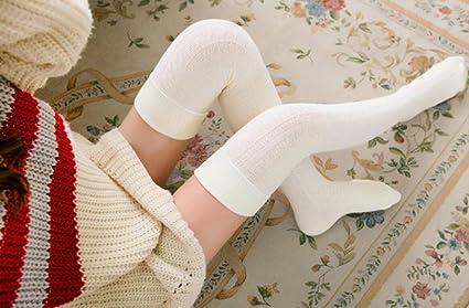 ZHJZ - Zapatillas de ganchillo para mujer y niña (color blanco)