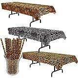 Curated Nirvana Wild Stripes Animal Print Table Cover Bundle with 25 Giraffe Print Straws | Tiger, Zebra & Leopard Print Table Cloths