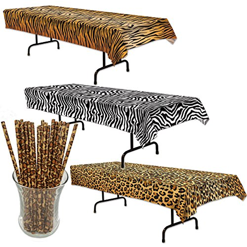 Curated Nirvana Wild Stripes Animal Print Table Cover Bundle with 25 Giraffe Print Straws | Tiger, Zebra & Leopard Print Table (Zebra Print Theme)