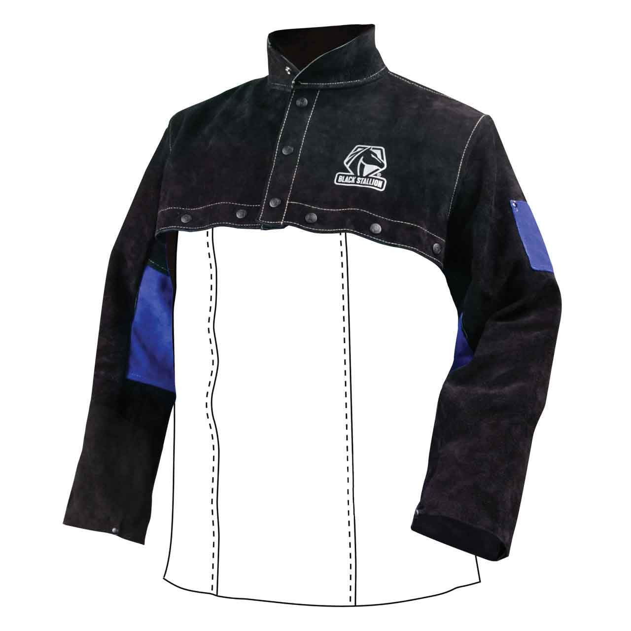 Black Stallion JL1021-BB Color Block Leather Cape Sleeves, X-Large