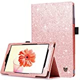 BENTOBEN Crystal Glitter Case for Fire HD 8 2017,Sparkly Folio Folding Stand Cover with Stylus Holder & Auto Wake/Sleep Luxury Bling Shiny Smart Case for Fire HD 8 2017,Rose Gold