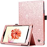 BENTOBEN Case for Fire HD 8 2017 Version -Bling Sparkly Folio Folding Stand Cover with Stylus Holder & Auto Wake/Sleep Luxury Glitter Shiny Smart Case for Fire HD 8 (2017 Release) , Rose Gold