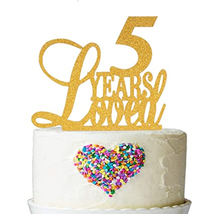 Amazon.com: 5 Years Loved Cake Topper - Cheers to 5 Years Cake ...