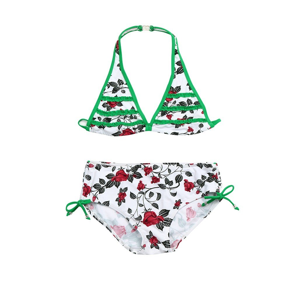 Baby Girls Bikini Set Swimsuit Halter Triangle Camis Tops + Floral Print Swim Bottoms Ruched Swimwear Bathing Suits (Green, 5T)