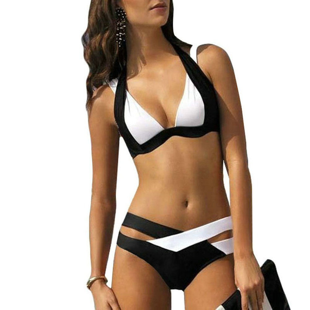 Women Two-piece Swimsuit, Cross Padded Push Up Halter Bikini Set Plus Size Swimwear