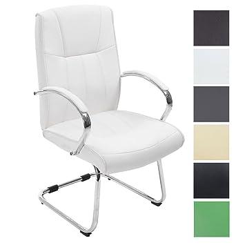 CLP Silla Estilo Cantilever Basel V2 en Cuero Sintético I Silla de Conferencias con Reposabrazos I Color: Blanco