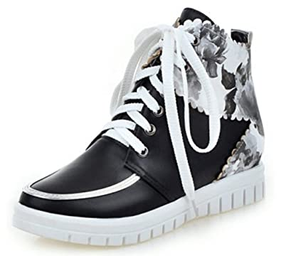 1e70fc2df021 Summerwhisper Women s Trendy Print High Top Lace-up Ankle Boots Heighten  Inside Platform Sneakers Black