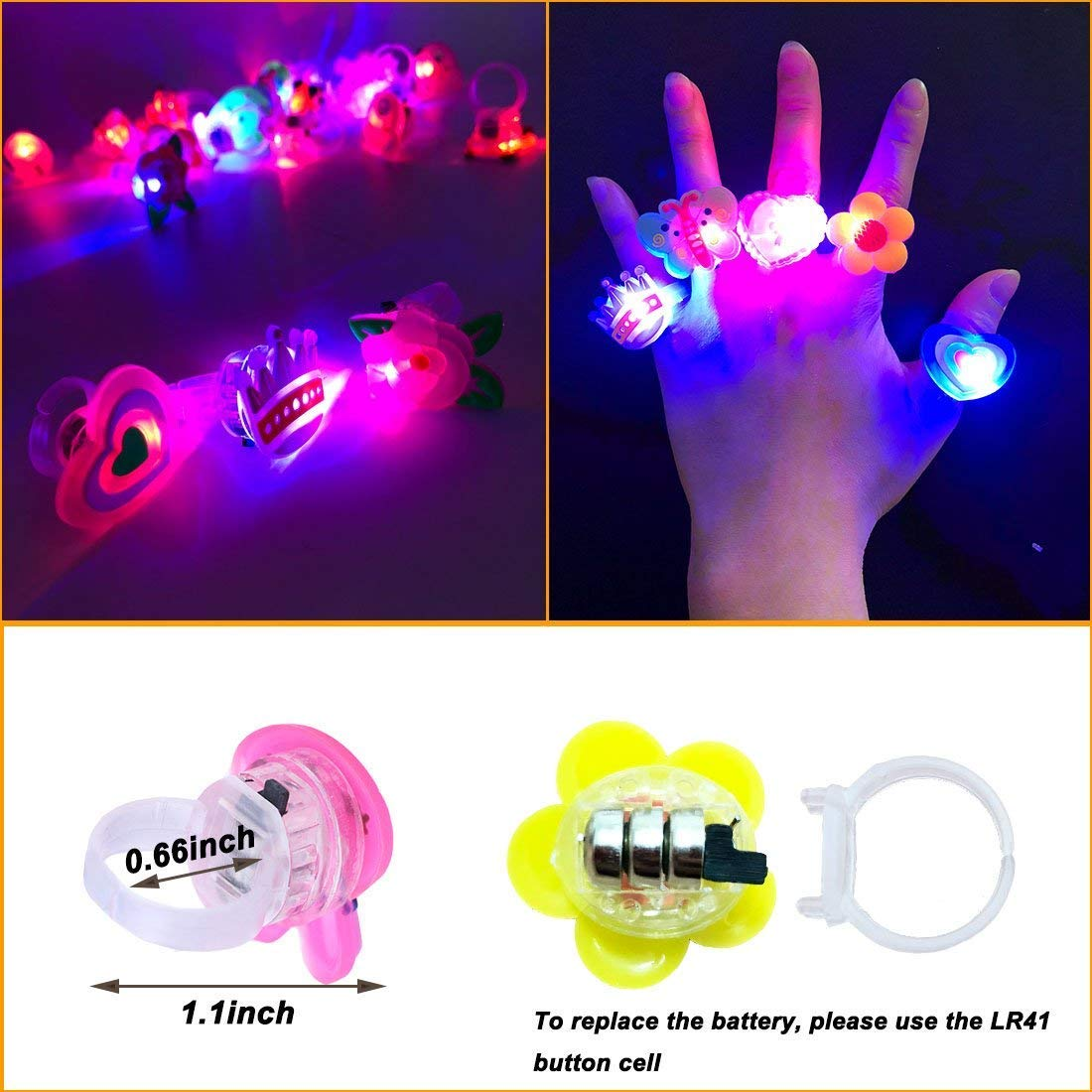 ChangSheng Glow Rings Led Party Supplies,50 Pcs Random Pattern Light Up Rings for Graduation Ceremonies, Birthday Parties and Parties by ChangSheng (Image #4)