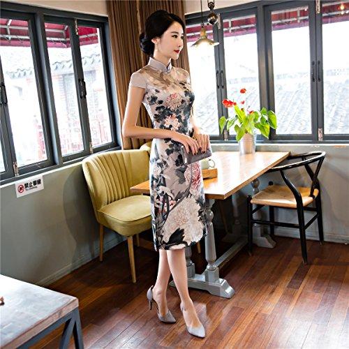 (上海物語)Shanghai Story 中華風 結婚式 披露宴 パーティドレス 膝柄 チャイナドレス ワンピース 半袖 チャイナ服 中国風 チーパオ 女性 中華ドレス 民族衣装 S T17115