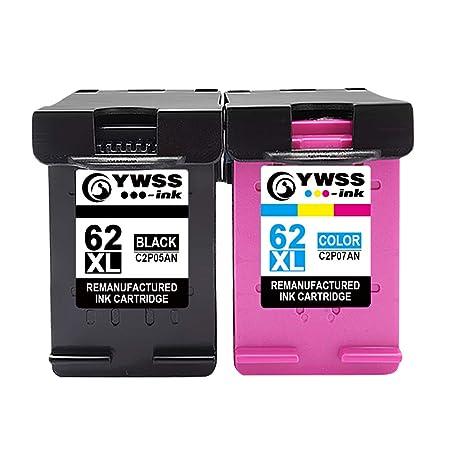 YWSS Cartucho de Tinta remanufacturado para HP 62XL Cartucho de Tinta de Alto Rendimiento HP 62XL (1 Negro+1 Tricolor) C2P05AN/C2P07AN Compatible con ...
