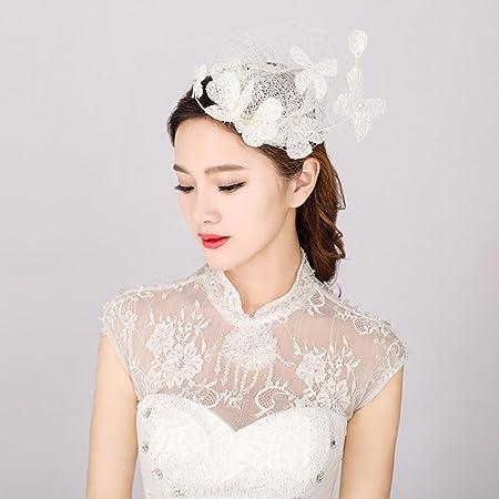 CarShi Bridal Pearl Lace Face Veil Modern Flower Women S Fascinator Wedding  Hats White  Amazon.co.uk  Kitchen   Home e9b23761005