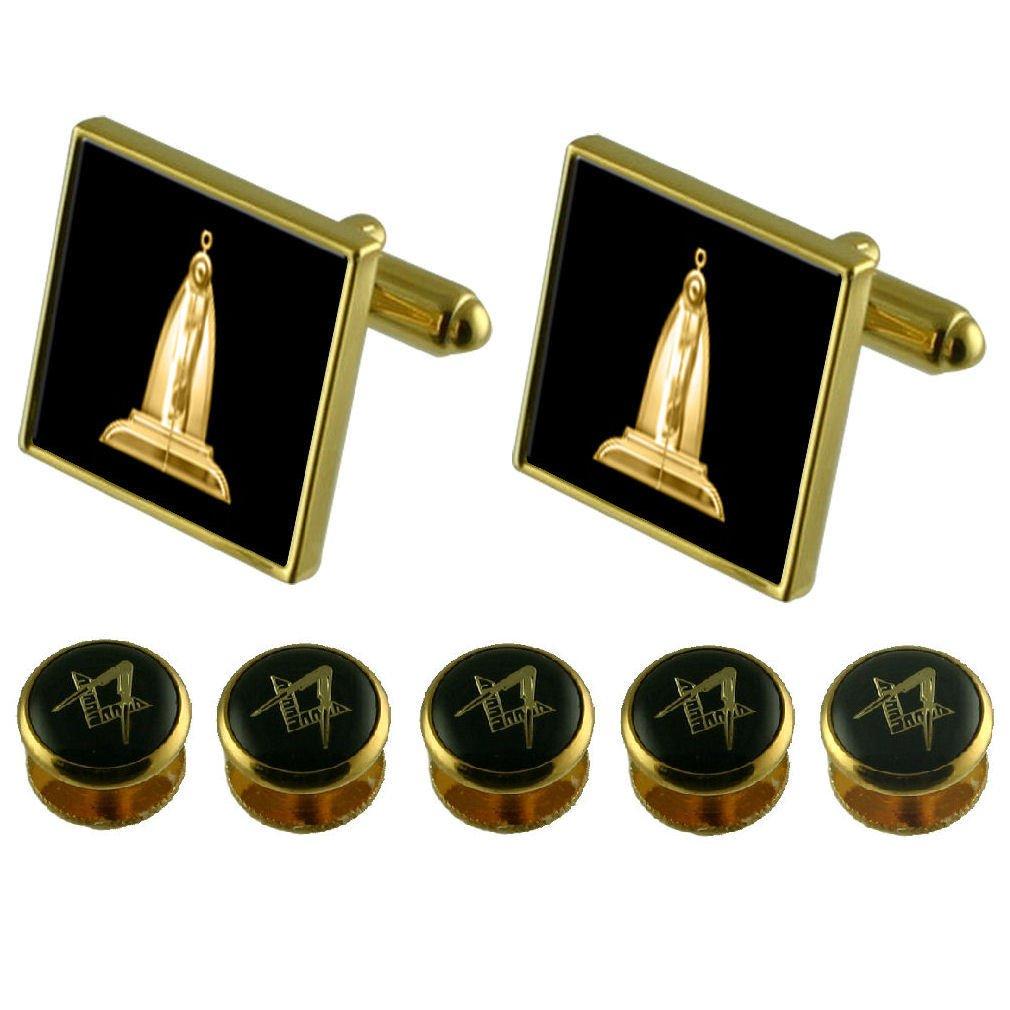 Select Gifts Senior Warden Gold Cufflinks Masonic 5 Shirt Dress Studs Box Set