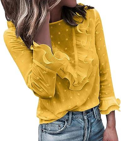 Camiseta de Mujer Manga Larga Elegante Volante Camiseta Moda Blusa Camisa Cuello Redondo básica Oficina Camiseta Slim Fit Otoño Tops Casual Fiesta T-Shirt Original Sudadera Tumblr Rebajas vpass: Amazon.es: Ropa y accesorios