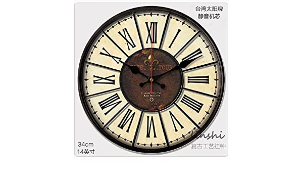 Amazon.com: Y-Hui The Silence! 14-Inch! Antique Clock Face Wall Clock With Custom Wall Clocks Ornaments, 14 Inch, Retro 28: Home & Kitchen