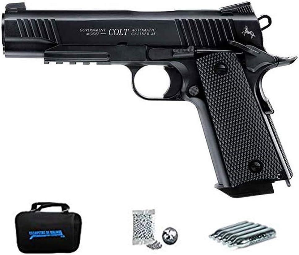 Colt M45 A1 CQBP (blowback) | Pack Pistola de balines (perdigones o Bolas de Acero BB's). Arma de Aire comprimido CO2 Calibre 4,5mm <3,5J