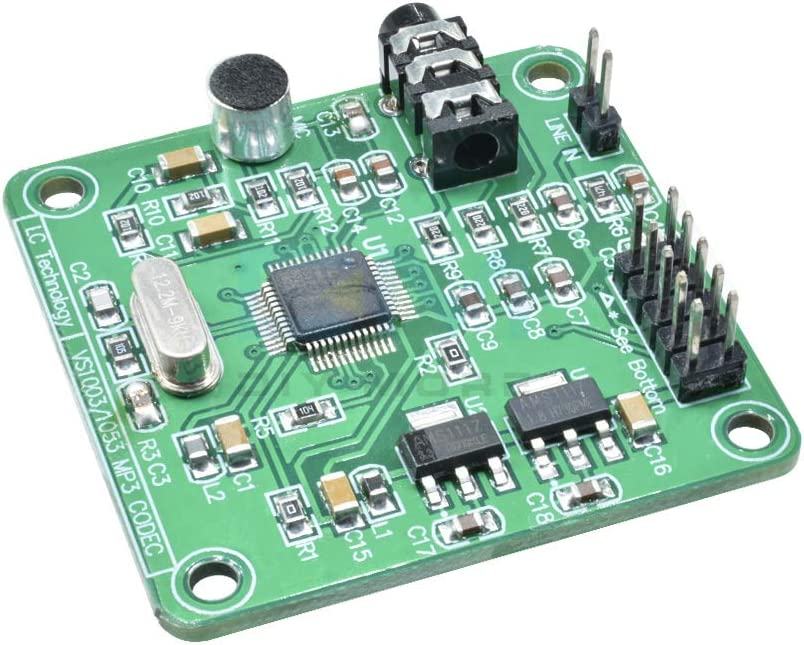 HiLetgo VS1053 MP3 Audio Player Module Audio Decoder Board Onboard Recording Microphone SPI Interface OGG Output Port Line-in 12.288Mhz