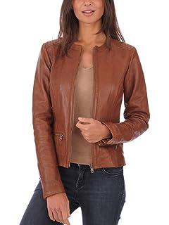 Captain Cory Womens Browny Cheazy Bomber Lambskin Genuine Leather Jacket Biker Jacket