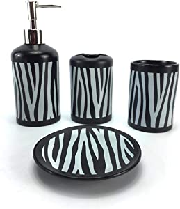 WPM 4 Piece Ceramic Bathroom Accessories Set - Zebra Print - Our Complete Bath Decor Kit Includes Designer Soap or Lotion Dispenser - Toothbrush Holder - Tumbler - Soap Dish