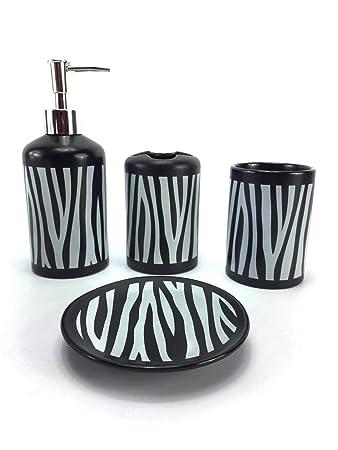 Badezimmer Set Accessoires Bad 4 Teilig Zubehör Dekor Keramik Schwarz Geschenk