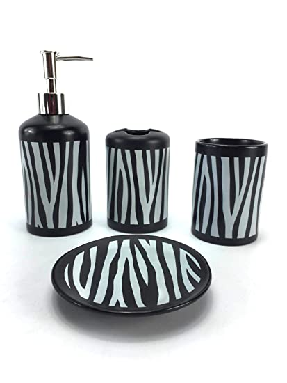 Amazon Com Wpm 4 Piece Ceramic Bath Accessory Set Black White Zebra