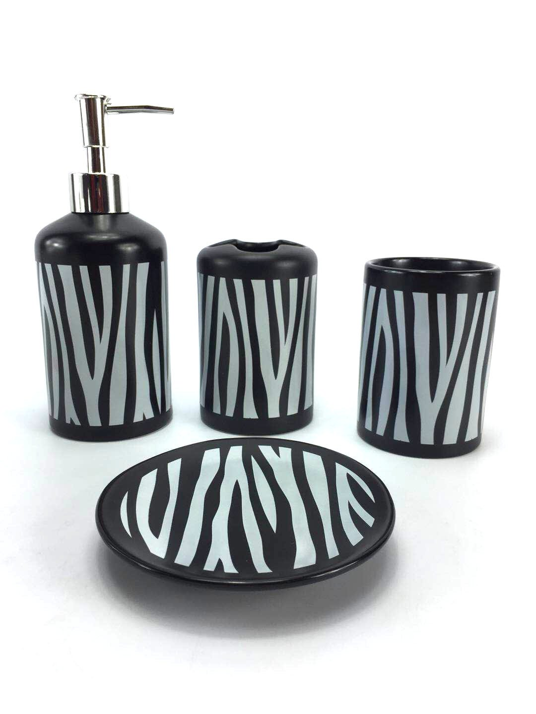 WPM 4 Piece Ceramic Bath Accessory Set Black White Zebra Animal Print Bathroom Soap or Lotion Dispenser w/Toothbrush Holder, Tumbler, Soap Dish